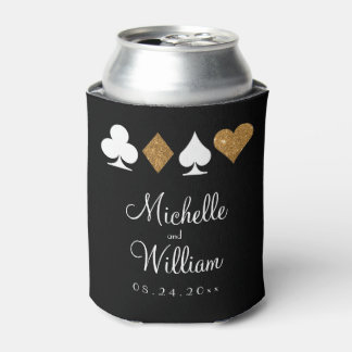 Las Vegas Themed Wedding Can Cooler Gold Black
