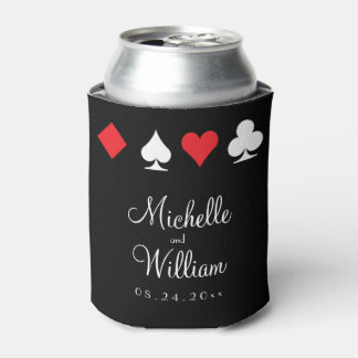 Las Vegas Themed Wedding Can Cooler Red Black