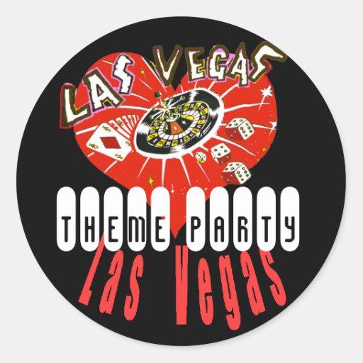 Las Vegas Themered y negro Pegatina Redonda
