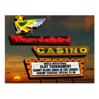 Las Vegas Thunderbird Retro Neon Sign Postcard