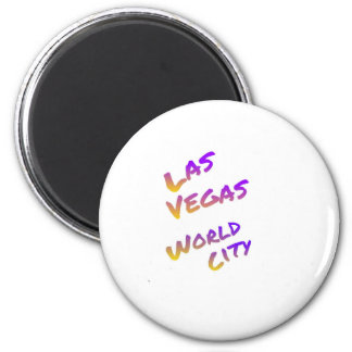 Las Vegas USA world City,  colorful text art 2 Inch Round Magnet