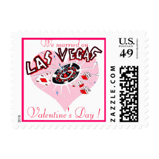 Las Vegas Valentine's Day Wedding Postage Stamp