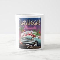 Las Vegas vintage style vacation poster Giant Coffee Mug