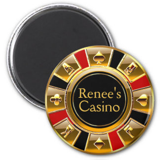 Las Vegas VIP Black Gold Red Casino Chip Favor 2 Inch Round Magnet