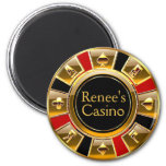 Las Vegas VIP Black Gold Red Casino Chip Favor Magnets
