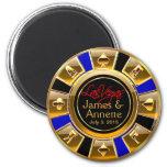 Las Vegas VIP Blue Gold Black Casino Chip Favor Refrigerator Magnets
