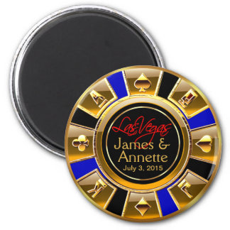 Las Vegas VIP Blue Gold Black Casino Chip Favor Magnet