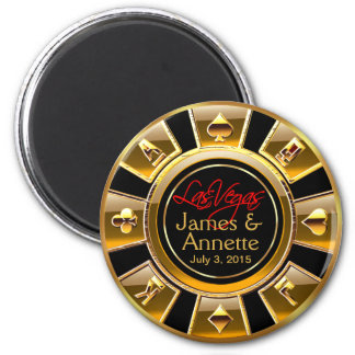 Las Vegas VIP Gold and Black Casino Chip Favor 2 Inch Round Magnet