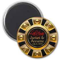 Las Vegas VIP Gold and Black Casino Chip Favor Magnet
