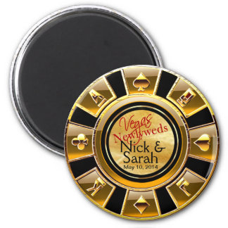 Las Vegas VIP Gold Black Sand Casino Chip Favor 2 Inch Round Magnet