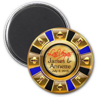 Las Vegas VIP Gold Blue Black Casino Chip Favor 2 Inch Round Magnet