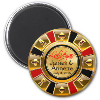 Las Vegas VIP Red Gold Black Casino Chip Favor 2 Inch Round Magnet