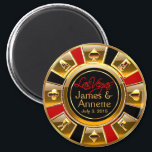 "Las Vegas VIP Red Gold Black Casino Chip Favor Magnet<br><div class=""desc"">If you're Doing It In Vegas or having a Las Vegas themed wedding or reception, these black, gold & red casino chip magnets make the perfect wedding favors! Matching wedding invitations, save the date cards, RSVP cards, envelope decals and stickers are also available. For questions & requests, email me at...</div>"