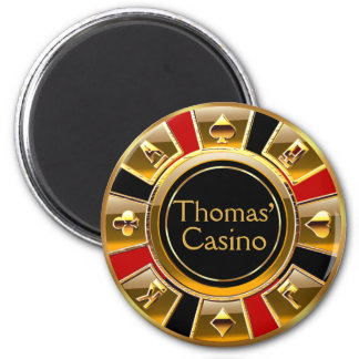 Las Vegas VIP Red Gold Black Casino Chip Favor Magnet