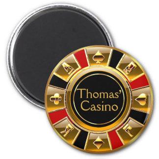 Las Vegas VIP Red Gold Black Casino Chip Favor Magnet