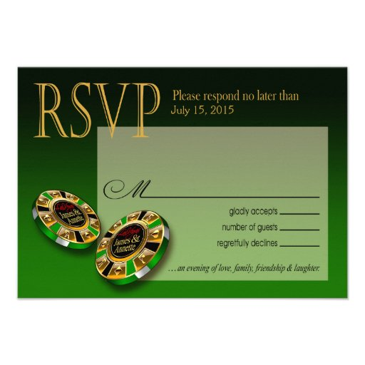 Las Vegas VIP RSVP response   green Invitations