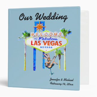 Las Vegas Wedding Album light blue 3 Ring Binder