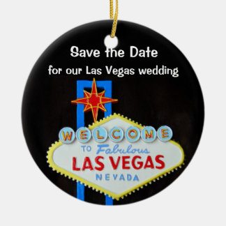 Las Vegas Wedding Announcement Double-Sided Ceramic Round Christmas Ornament