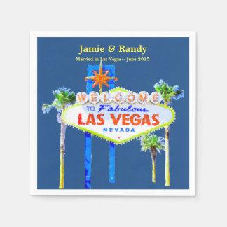 Las Vegas Wedding Blue Personalized Standard Cocktail Napkin