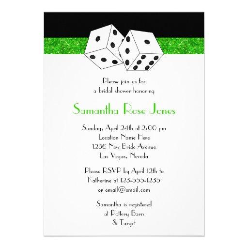 Las Vegas Wedding Bridal Shower Green Dice Theme Custom Invitation