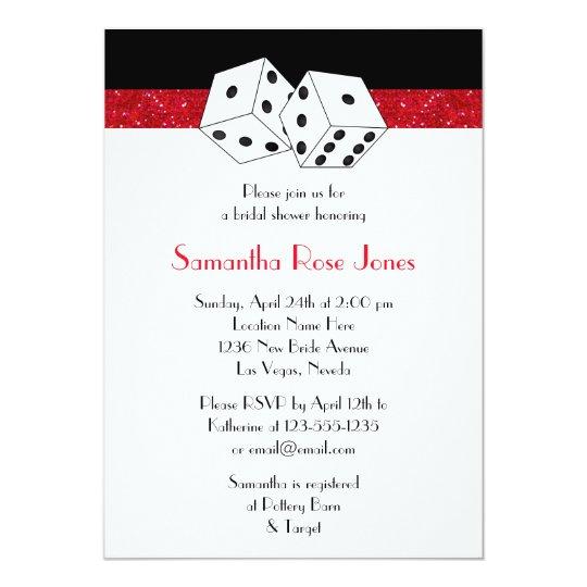 Las Vegas Wedding Invitation Wording: Las Vegas Wedding Bridal Shower Red Dice Theme Invitation