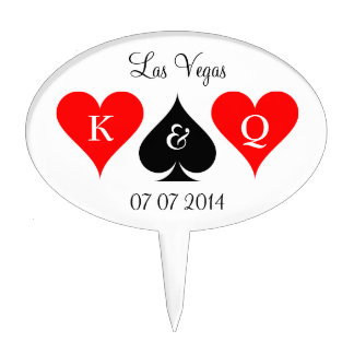 Las Vegas wedding cakepick | Monogram cake topper