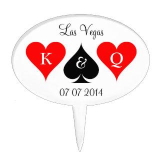 Las Vegas wedding cakepick | Monogram cake topper