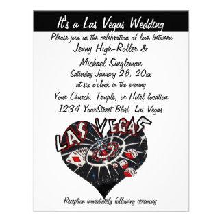 Las Vegas Wedding Contemporary Black White Heart Invitations