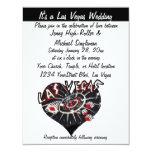 Las Vegas Wedding Contemporary Black &White Heart Invitations