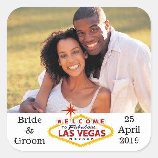Las Vegas Wedding Custom Photo Envelope Seals Square Sticker