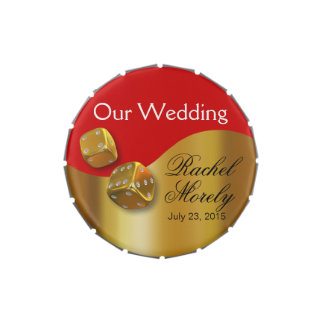 Las Vegas Wedding Dice Swoop gold red Jelly Belly Candy Tins