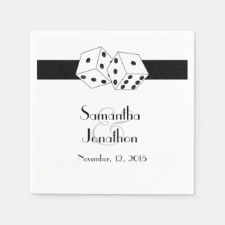Las Vegas Wedding Dice Theme Black and White Napkin