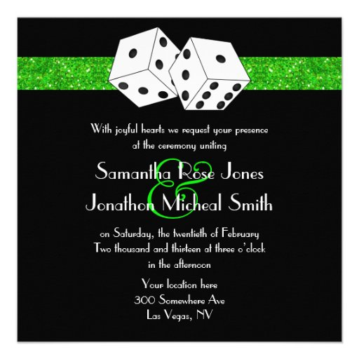 Las Vegas Wedding Dice Theme Green Faux Glitter Personalized Invites