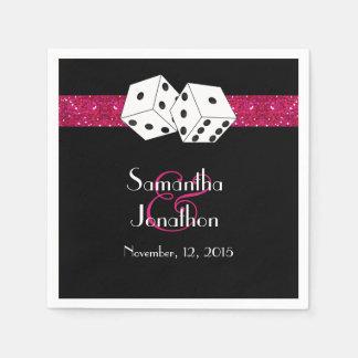 Las Vegas Wedding Dice Theme Hot Pink Faux Glitter Paper Napkin