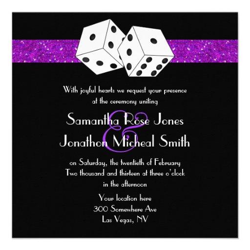 Las Vegas Wedding Dice Theme Purple Faux Glitter Announcement