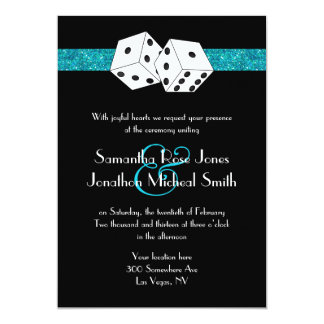 Las Vegas Wedding Dice Theme Teal Blu Faux Glitter Card