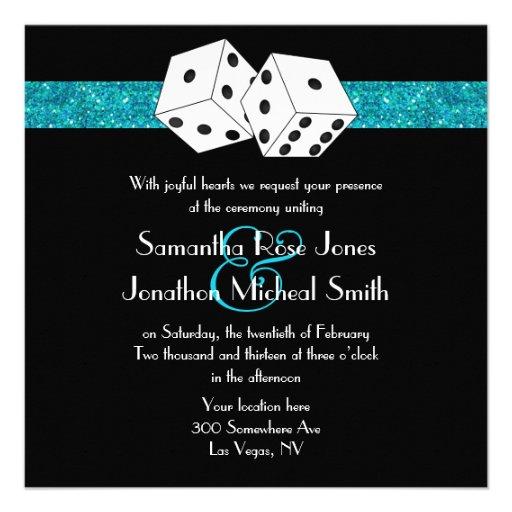 Las Vegas Wedding Dice Theme Teal Blu Faux Glitter Announcement