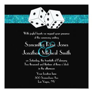 "Las Vegas Wedding Dice Theme Teal Blu Faux Glitter 5.25"" Square Invitation Card"