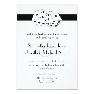 "Las Vegas Wedding Dice Theme White and Black 5"" X 7"" Invitation Card"