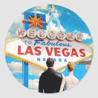 Las Vegas Wedding Invitation Classic Round Sticker