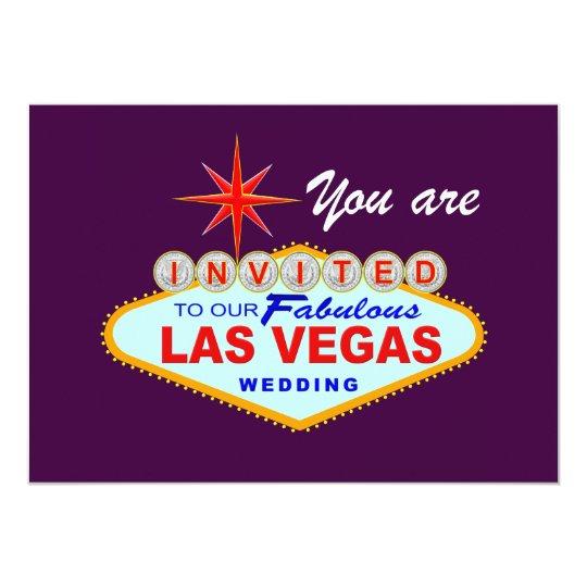 Las Vegas Wedding Invitation PURPLE