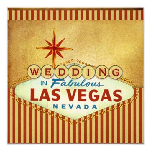 "Las Vegas Wedding Invitation Template 5.25"" Square Invitation Card"