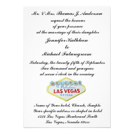 Las Vegas Wedding Invite Formal 5 X 7 Invitation Card