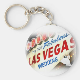 Las Vegas Wedding Keychain with Bride & Groom