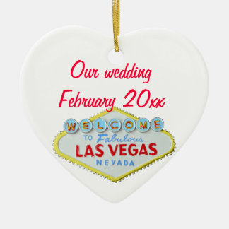 Las Vegas Wedding Memento Ceramic Ornament