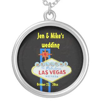 Las Vegas Wedding Memento Round Pendant Necklace