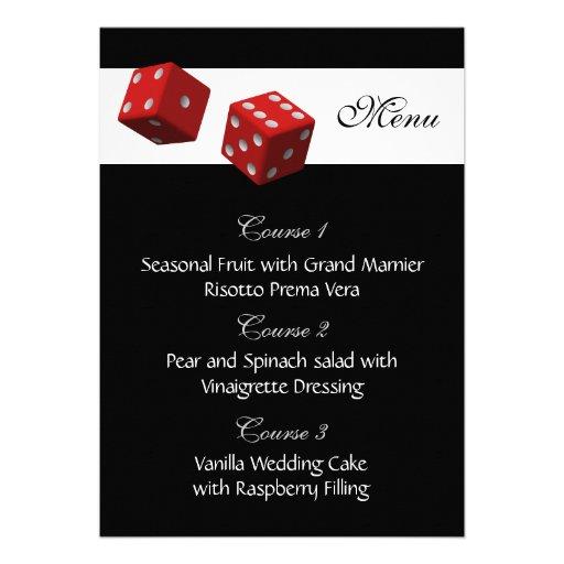 Las vegas wedding menu cards