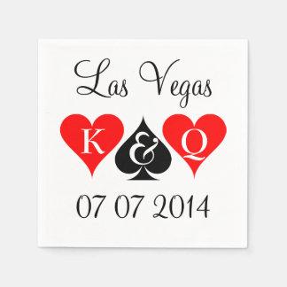 Las Vegas wedding napkins with monogram suits Standard Cocktail Napkin