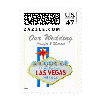 Las Vegas Wedding Personalized Bride and Groom Postage