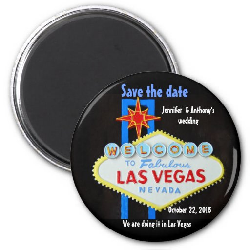 Las Vegas Wedding personalized Save the Date Magnets